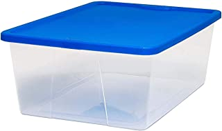 Homz Plastic Storage Sweater Box, With Lid, 12 Quart, Clear, Stackable, 8-Pack