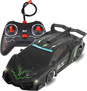 FIGROL Wall Climbing Car,Climbing Rc Cars 360° Rotating Stunt Vehicle,with Remote Control, LED Head Gravity,Rechargeable for Kid,Girfts(Black)