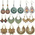 8 Pairs Boho Jewelry Earrings Set Retro Statement Leaf Water Drop Dangle Earrings for Women Girls