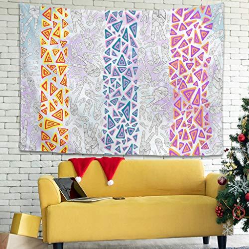Ballbollbll Colorido triángulo y manos abstractas Tapiz de pared diseñado para colgar en el dormitorio, decoración de porche, tapiz de pared blanco 79 x 59 pulgadas