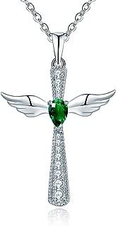 YL Cross Necklace 925 Sterling Silver Angel Wings Pendant Teardrop Cubic Zirconia Criss Jewelry