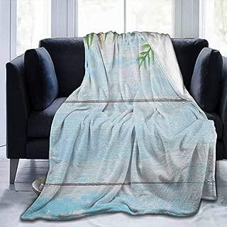 Flannel Ultra-Soft Blanket Decorative Soft Warm Cozy Plush Seashells,Star Fish Seashell Tropic Plants Leaves Seaweed Nautical Boat Marine,Pale Blue Green Amber,60