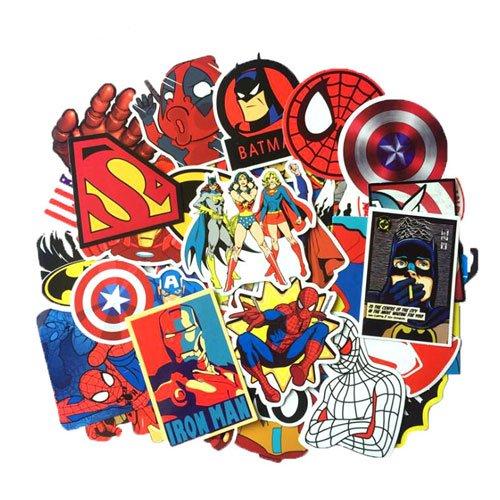 Marvel DC Avengers Super Hero 50pcs Sticker Decal Pack - Superman Hulk Spiderman Captain America Deadpool Vinyls for Laptop,Kids,Teens,Cars,Motorcycle,Bicycle,Skateboard Luggage,Bumper Stickers Hippie