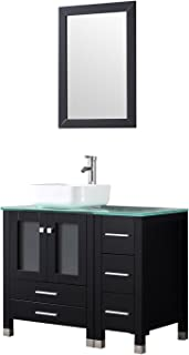 "Walcut Black 36"" Modern Bathroom Vanity and Sink Combo Wooden Cabinet Ceramic Vessel Sink with Faucet Pop Up Drain Tempered Glass Counter Top"