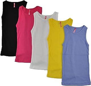 Cute 4 U Big Girls 5 Pack Tank Tops (Assorted Colors)
