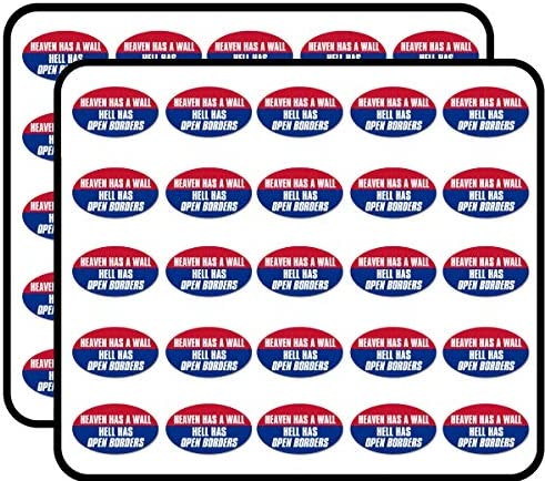 Oval Heaven Has A Wall Hell Has Open Borders Funny Trump GOP Sticker for Scrapbooking Calendars product image