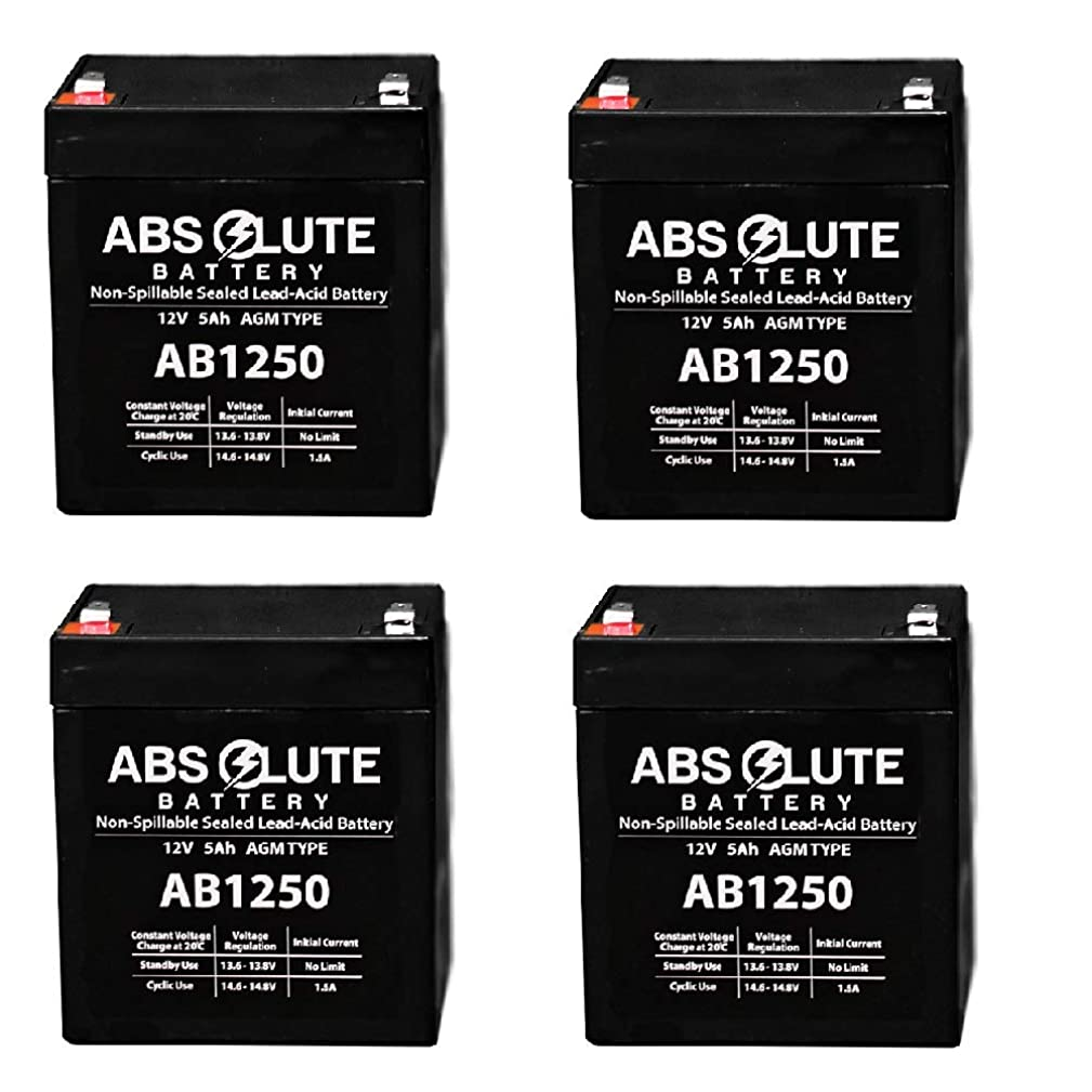 4 Pack New AB1250 12V 5AH Replaces Battery for Fire Lite Alarm BAT-1250