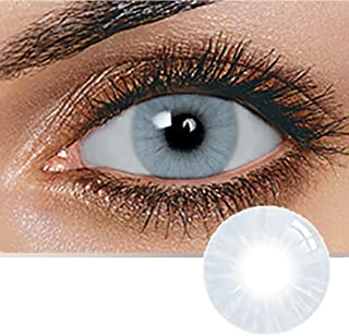Unisex Contact Lenses, Natural and Beauty Collection Cosmetic Contact Lenses, 12 Months Disposable with Case- Graphite