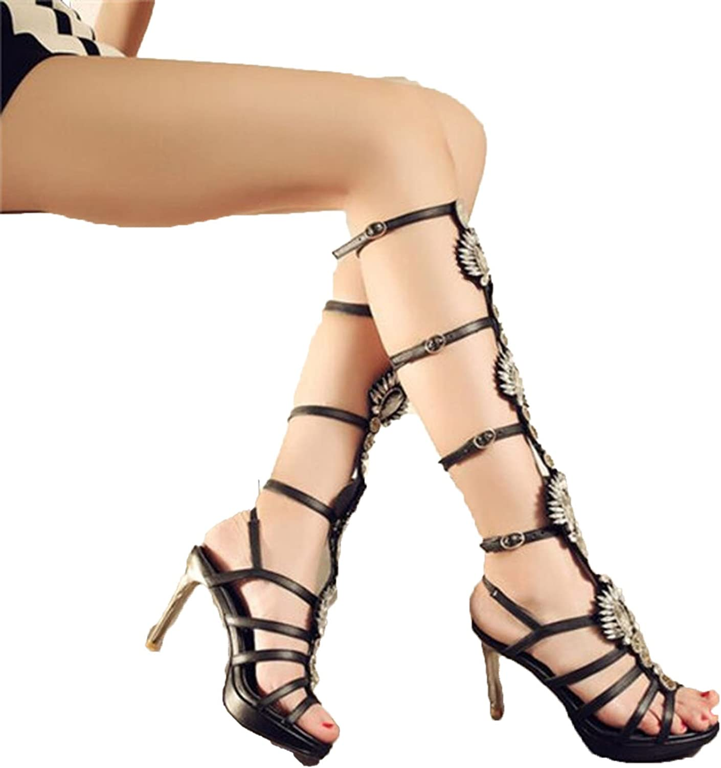 Running-sun Rhinestone Knee High Sandals Summer Women Gladiator Sandals Size 33-44