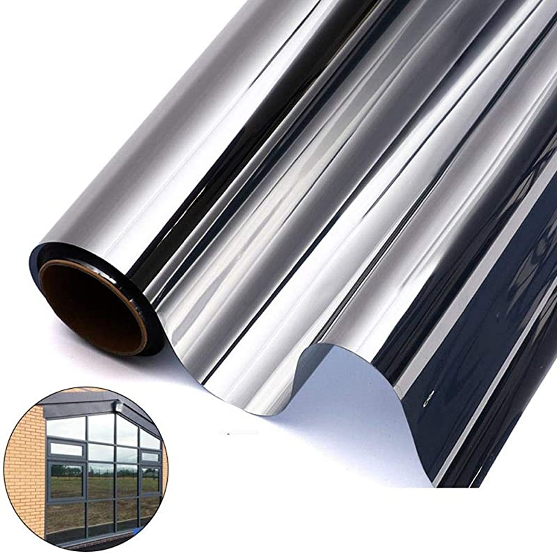 LAYOPO Reflective Window Film One Way Mirror Film Anti UV Heat Control Window Tint Privacy Protection Glass Sticker Sun Blocker For Home And Office