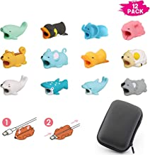 Xtozon 12 Pcs Animal Bites Cable Protector, Cute Animal Cable Protector, Cable Buddies Charging Cords Mini Cartoon USB Cord Accessory with Cable Storage Case
