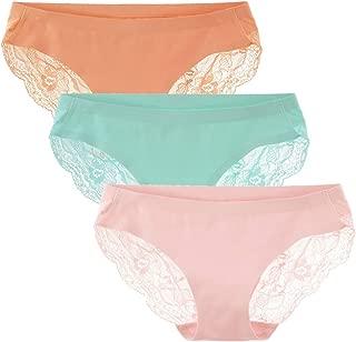 LIQQY Women's 3 Pack Low Rise Cotton Lace Coverage Bikini Panties Underwear