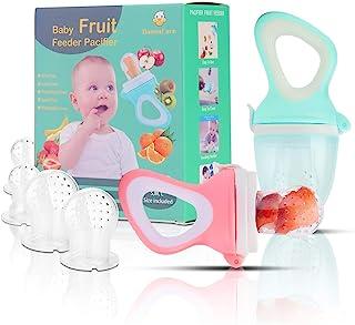 پستانک فیدر میوه کودک (2 بسته) - غذاساز غذای کودک - اسباب بازی شیرآلات میوه ای کودک برای نوزادان پستانک ، فیدر ، Teether با 6 کیسه سیلیکون PCS (صورتی و سیان)