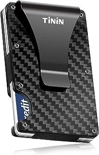 Carbon Fibre Wallet, Slim Money Clip & Minimalist RFID Blocking Front Packet Slim Wallet, Aluminum Metal Wallet & Business Card Holder Billfolds for Men and Women