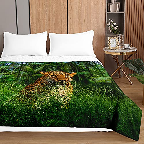 Chickwin Tagesdecken Bettüberwurf, 3D Leopard Drucken Tagesdecke aus Mikrofaser - Prägemuster Wohndecke Bettdecke für Einzelbett Doppelbett oder Kinder (Dschungel Leopard,180x220cm)