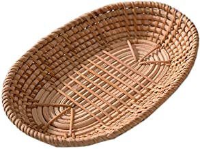 SWZJJ Woven Storage Basket Rattan Bread Basket Fruit Basket Serving Baskets for Home Kitchen Desk Snack Sundries Organizer