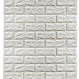 Brick Wall Panels (20Pcs) Peel and Stick Wallpaper Faux Stone Textured 3D Foam Wallpaper Tiles White for Livingroom Bedroom TV Background Home Decor DIY – 116.4 sq.Feet & Utility Knife
