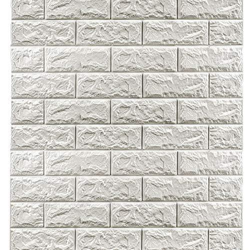 20PCS selbstklebende Wandfliesen 77 x 70 cm White Brick Effect Wallpaper 3D Fliesen Backstein Wandaufkleber Wasserdichte DIY Schaum Wandpaneele