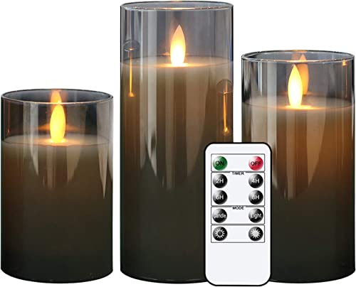 high quality GenSwin LED Flameless Flickering Battery Operated Candles with 10-Key Remote Control, online Real Wax Moving Wick Pillar Glass Candles for Festival Wedding Christmas Home outlet online sale Party Decor(Pack of 3, Gray) online