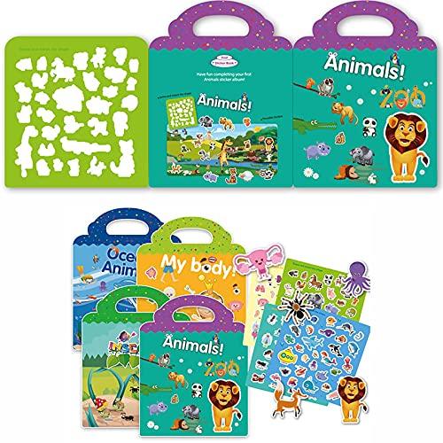 JZLMF Pegatinas para niños, diseño de libro, escena de rompecabezas, dibujos animados, pegatinas educativas, regalo