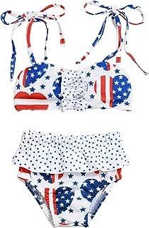 Infant Toddler Baby Girl American Flag Bathing Suit Summer Swimwear Bikini Swimsuit Set