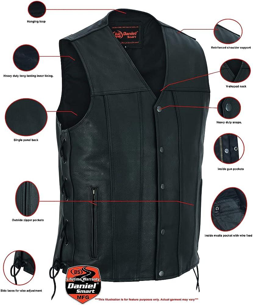 Daniel Smart Men's Tall Classic Tapered Bottom Leather Biker Vest