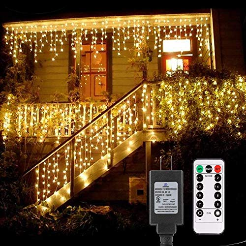 B-right Icicle Lights Outdoor, 32.8ft x 2.6ft 480 LED Christmas Lights Plug in Remote 29V 8 Modes LED String Lights for Christmas Bedroom Party Curtain Outdoor Indoor Wall Decorations, Warm White