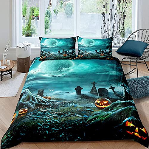 Sängkläder 200 x 200 3 delar för allergiker lämpliga sängkläder set med 1 påslakan 135 x 200 & örngott 80 x 80 cyan spökpumpa – med dragkedja
