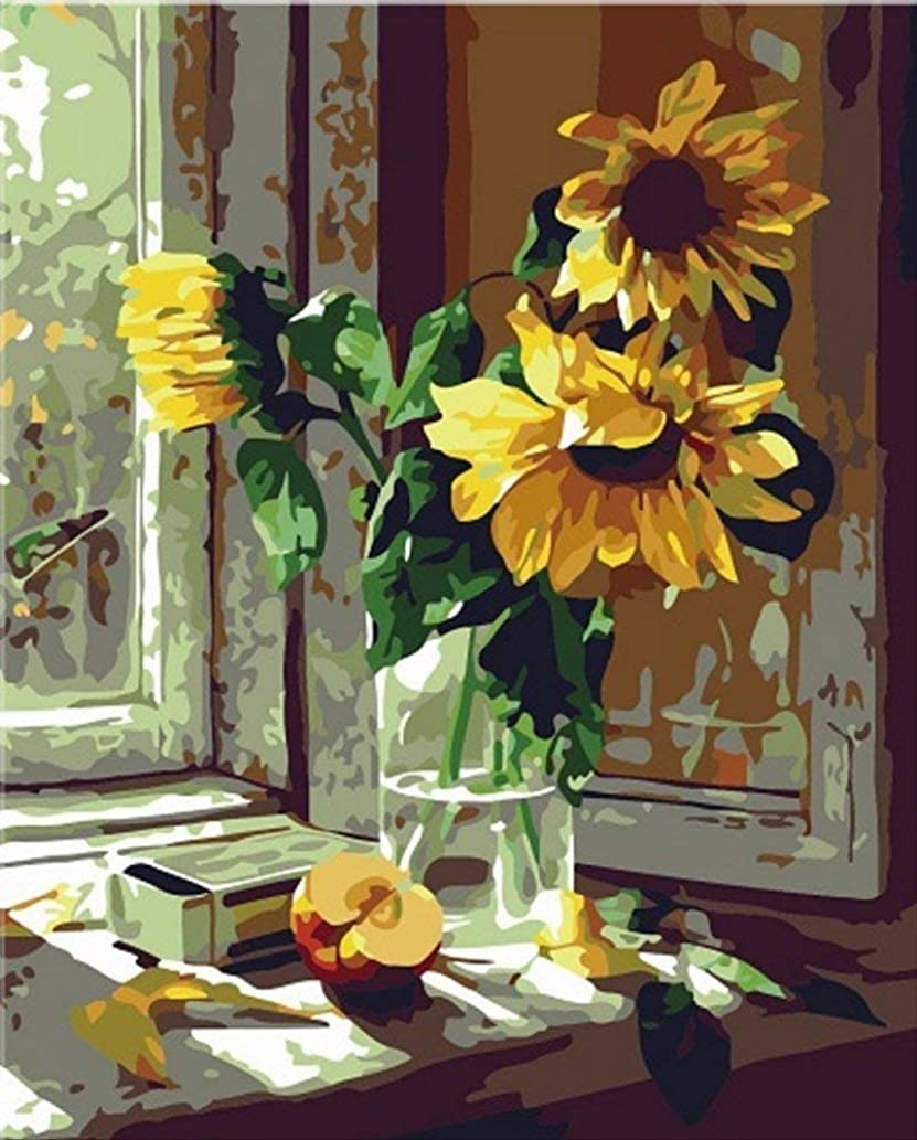 Morgofun New DIY Oil Painting Paint by Number Kits for Adult Warm Sunflower Drawing with Brushes Paint, 16 X 20 inches