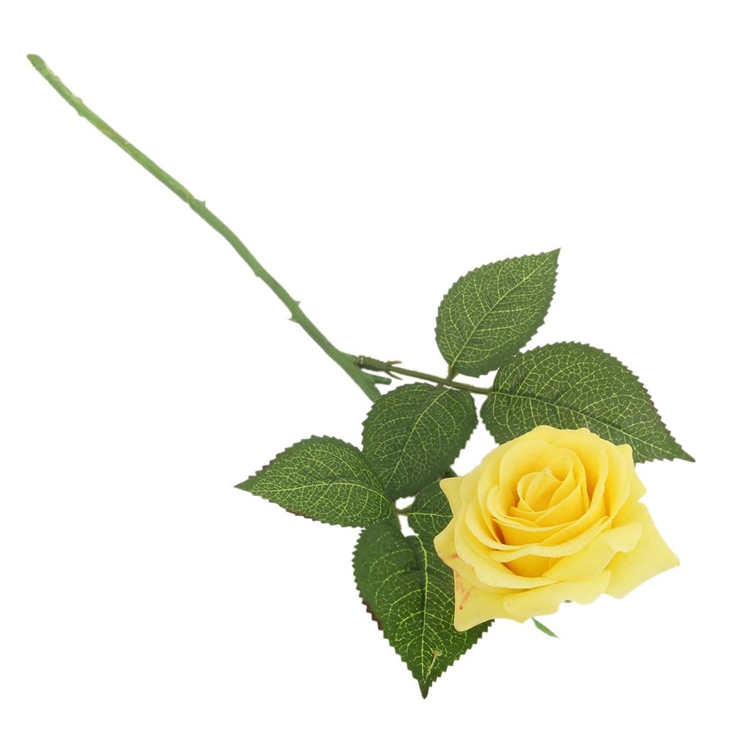 バン意図アヒル【ノーブランド品】造花 バラ ローズ ホーム 結婚式 飾り インテリア 装飾 (イエロー)