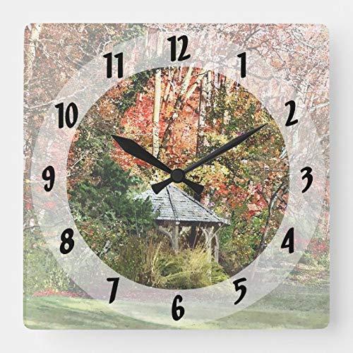 daoyiqi Square 15' Rustic Farmhouse Wood Clock, Gazebo In Autumn Garden Square Wall Clock Non Ticking Decorative Clock for Kitchen Living Room