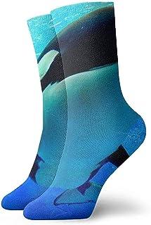Tedtte, Orca nadando bajo el agua con calcetines de burbujas Calcetines de cuello unisex Calcetines de vestir