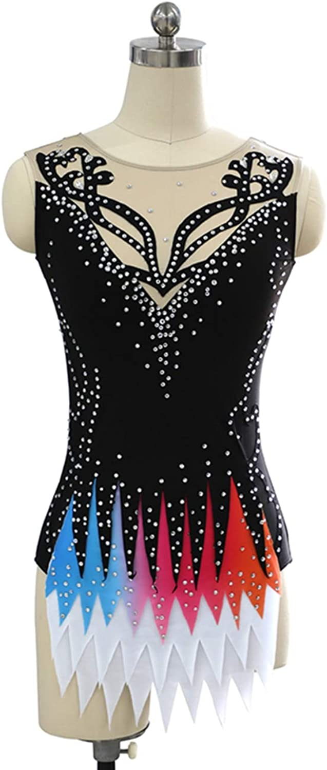 Handmade Art Gymnastics Costume for Girl, Figure Skating Ice Skating Competition Costume with Crystals, Ice Dance Performance Show Leotards, Sleeveless Outfit, Black