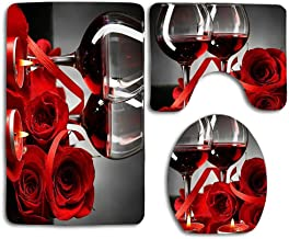 huachuangxinlHUQ Red Rose Flowers Wine Glass and Candle for Valentines Couple Decorative Soft Comfort mat Anti-Skid Absorb...