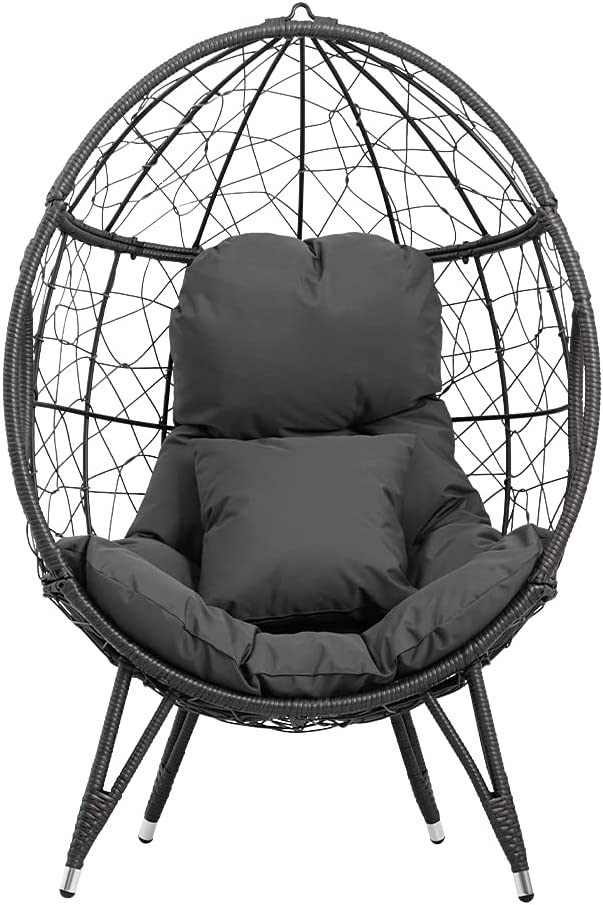 Crestlive Products Patio Wicker Egg OFFicial mail order Cushion and with Pillo Very popular! Chair