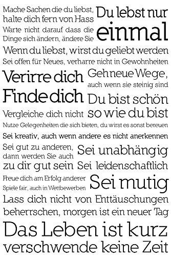 Motivational - Du lebst nur einmal Motivationsposter Plakat Druck - Grösse cm