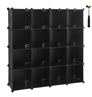 SONGMICS Cube Storage Organizer, 16-Cube Book Shelf, DIY Plastic Closet Cabinet, Modular Bookcase, Storage Shelving for Bedroom, Living Room, Office, 48.4 L x 12.2 W x 48.4 H Inches Black ULPC44BK