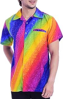 Virgin Crafts Hawaiian Shirt for Men's Short Sleeve Rainbow Print Casual Fashion Beach Shirt