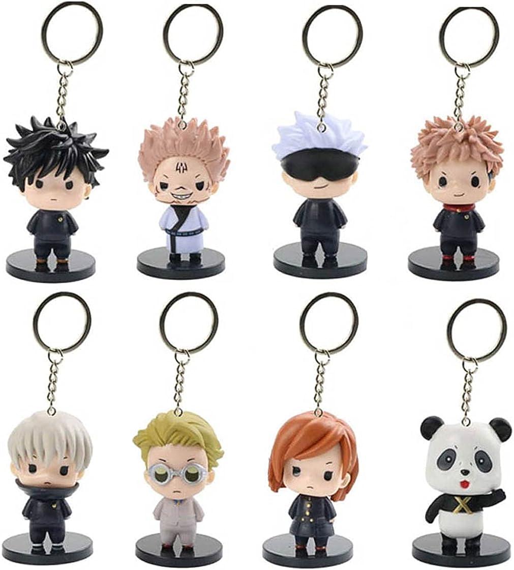 8 PCS Jujutsu Kaisen Keychain GojoSatoru YujiItadori NobaraKugisaki MegumiFushiguro Nanami Kento Anime Figure Accessories