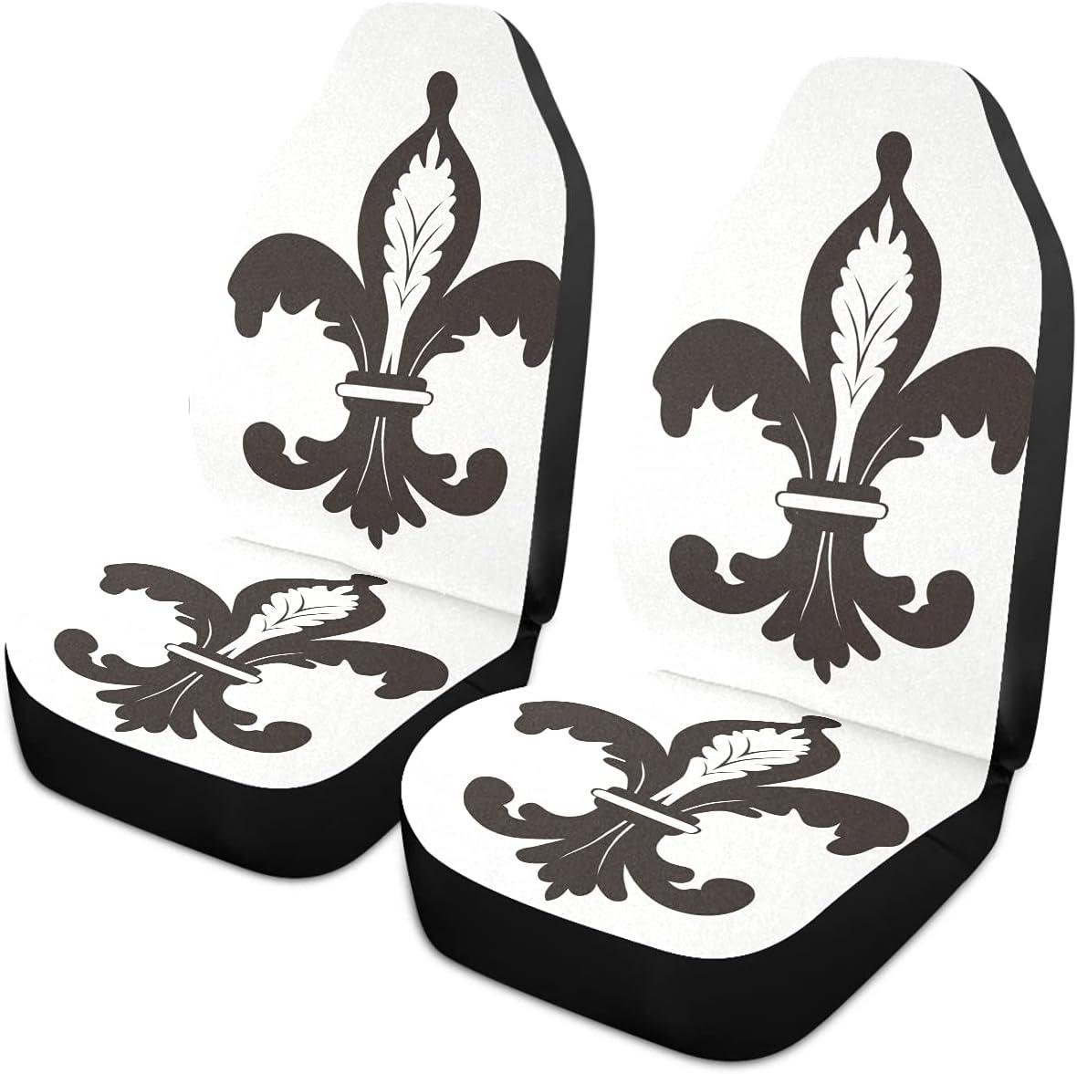 Oarencol Black White Fleur De Lis Uni Mardi Seat Gras National products Covers Car Nashville-Davidson Mall