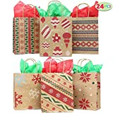 24 Christmas Kraft Gift Bags with Assorted Christmas Prints for Kraft Holiday Paper Gift Bags, Christmas Goody Bags, Xmas Gift Bags, Classrooms and Party Favors by Joiedomi