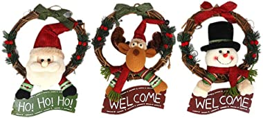 URMAGIC Christmas Wreath for Front Door,Christmas Garland with Plush Santa, Snowman, Elk and Welcome Wording for Christmas Home Wall Window Door Decoration