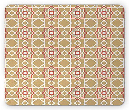 Orient Mouse Pad, Ethnische marokkanische Mosaikfliesen Motiv Geometrische böhmische Fliesen wie Kunst, Rechteck rutschfestes Gummi-Mousepad, Standard Burnt Sienna Sand Brown