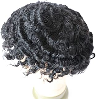 Lumeng Hair Male Toupee12mm 360 Weave Curly Man Unit 1B Off Black Human Hair Mens Toupee Afro Curly Short Hair Men's Wig 8x10inch Men's Hair Systems Hairpiece 8x10inch