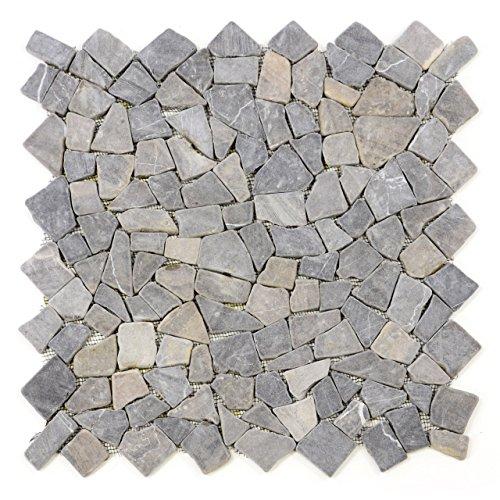 Divero 4 Fliesenmatten Naturstein Mosaik aus Marmor für Wand und Boden hellgrau á 50 x 50 cm