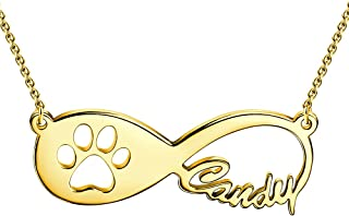 SOUFEEL Personalized Name Necklaces for Women Pet Paw Print Infinity Nameplate Pendant 925 Sterling Silver Custom Gifts fo...