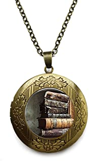 antique book chain necklace