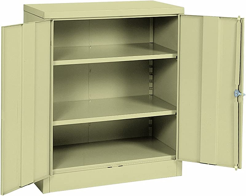 Sandusky Lee RTA7001 07 Putty Steel SnapIt Counter Height Cabinet 2 Adjustable Shelves 42 Height X 36 Width X 18 Depth