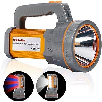 Súper brillante Recargable LED Foco Linternas de mano Lámparas eléctricas Proyectores Reflector potente Alta Potencia 6000 lúmenes grande batería pila 10000mAh de larga duración antorcha estancas, más brillante Luz de inundación lateral de trabajo camping inspección emergencia,Teléfono de carga USB