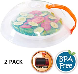 Eutuxia Microwave Plate Cover with Lid, Handle, and Adjustable Steam vent Holes. Splatter Guard Protection While Microwaving. BPA Free, Dishwasher Safe